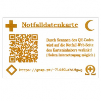Emergency-Data-Card , Credit-Card size with individual QR-Code + typable URL + international Emergency Icons