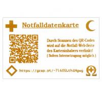 Notfalldatenkarte im Kreditkartenformat mit indiv. QR-Code + URL zum Eintippen +  internationalen Notfallemblemen