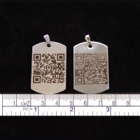 """Edelstahl Halskettenanhänger """"DOG TAG XL"""" (41x25mm) mit Ihrem dynamischen Grappt-Notfall-QR-Code"""
