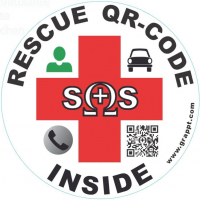 RESCUE QR-CODE INSIDE (Round sticker to affix inside of windscreen)