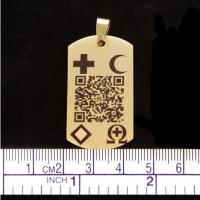 "Notfall QR-Code Halskettenanhänger ""Gold"""