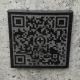 QR-Code, Granit Nero assoluto 70x70x11 mm, mit Rand